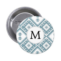 Customized Mod monogram Ikat Blue pattern Button