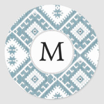 Customized Mod monogram Ikat Blue pattern Classic Round Sticker