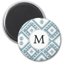 Customized Mod monogram Ikat Blue pattern Magnet