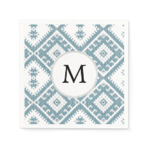 Customized Mod monogram Ikat Blue pattern Paper Napkin
