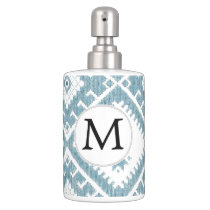 Customized Mod monogram Ikat Blue pattern Soap Dispenser & Toothbrush Holder