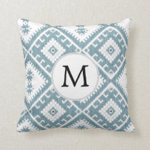 Customized Mod monogram Ikat Blue pattern Throw Pillow