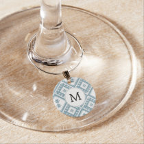 Customized Mod monogram Ikat Blue pattern Wine Glass Charm