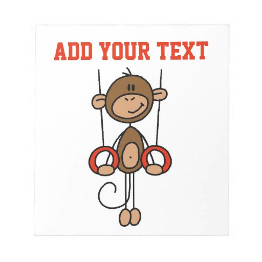 Customized Monkey Gymnast on Rings Note Pad