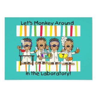 "Customized Monkey Science Birthday Invitations 5"" X 7"" Invitation Card"