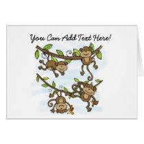 Customized Monkey Shine Animals Note Cards
