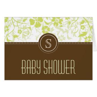 Customized Monogram Baby Shower Invitation Sage