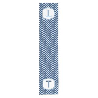 Customized Monogram Chevron Pattern A15 BLUE Short Table Runner