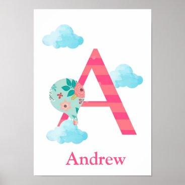Art Themed Customized Monogram Nursery Wall Print - Adventure