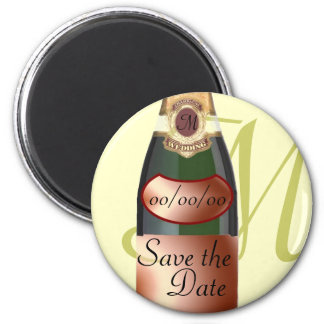 Customized Monogram Save the Date 2 Inch Round Magnet