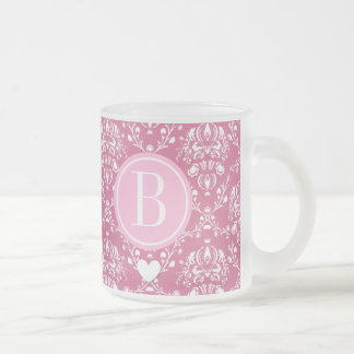 Customized Monogram with Heart and Pink Damask A04 10 Oz Frosted Glass Coffee Mug