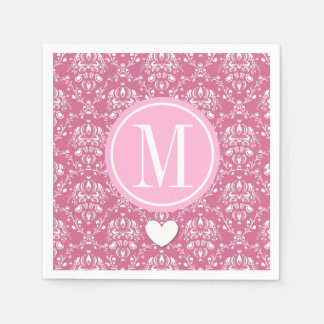 Customized Monogram with Heart and Pink Damask A15 Standard Cocktail Napkin