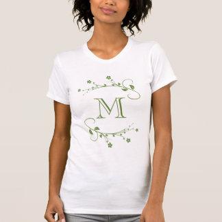 Customized Monograma and elegant green flowers T-Shirt