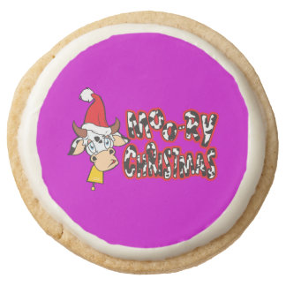 Customized Moory Moo Christmas Cow Bell Apron Round Premium Shortbread Cookie