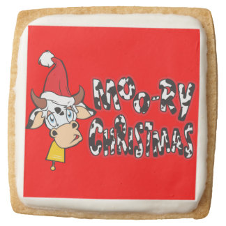 Customized Moory Moo Christmas Cow Bell Apron Square Premium Shortbread Cookie