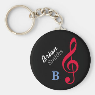 customized musician treble-clef basic round button keychain