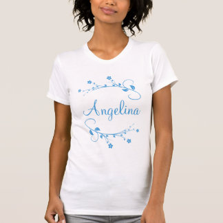 Customized name and blue flowers of spring T-Shirt