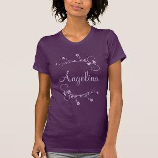 Customized name and elegant flowers purple t shirt