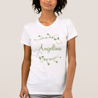 Customized name and elegant green flowers T-Shirt