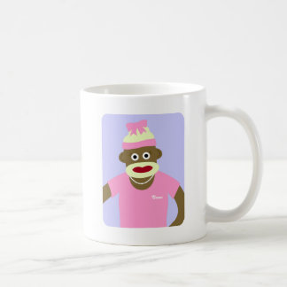 Customized Name or Monogram Sock Monkey Girl Coffee Mug