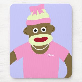 Customized Name or Monogram Sock Monkey Girl Mouse Pad
