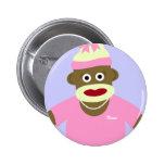 Customized Name or Monogram Sock Monkey Girl Pin