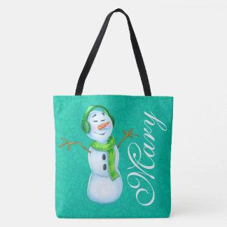 customized name snow lady cartoon pattern tote bag