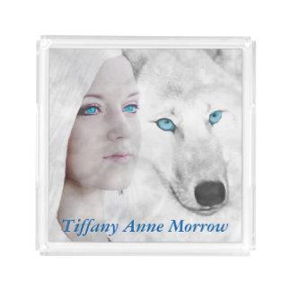 Customized Name Snow White Wolf Lady Blue Eyes Acrylic Tray