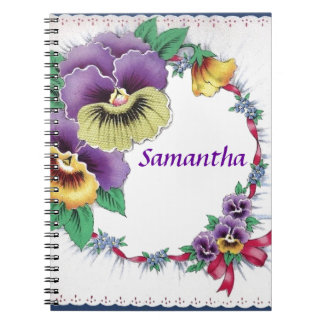 Customized Name Vintage Floral Pansy Notebook