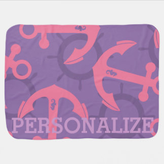 Customized Nautical Pink Purple Anchors Pattern Stroller Blanket