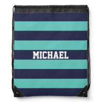 Customized Navy Blue Turquoise Stripes Drawstring Bag