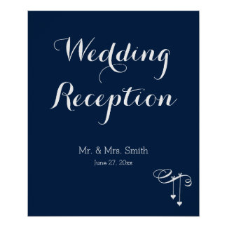 Customized Navy Blue Wedding Reception Sign Print