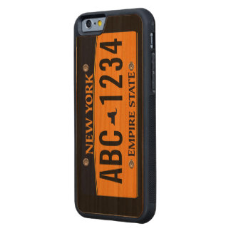 Customized New New York Vehicle Licence Plate Carved® Cherry iPhone 6 Bumper Case