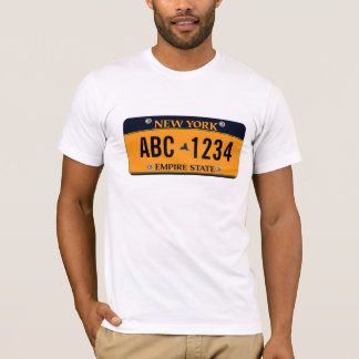 *Customized New New York Vehicle Licence Plate T-Shirt