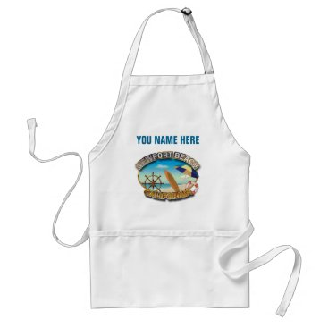 Beach Themed Customized Newport Beach, CA Illustration Adult Apron