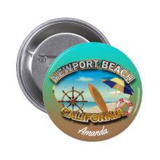 Customized Newport Beach Illustration Button