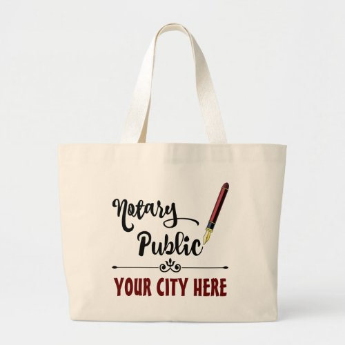 Customized Notary Public Burgundy Ink Pen Large Tote Bag