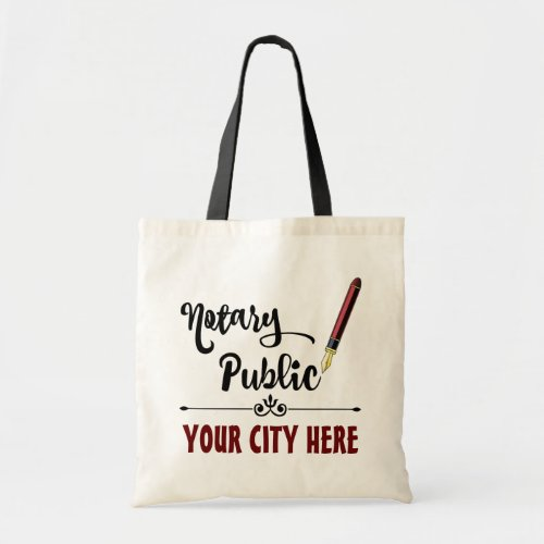 Customized Notary Public Burgundy Ink Pen Budget Tote Bag