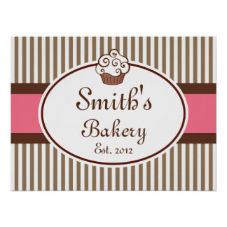 Customized Old Fashioned Bakery Sign Art  Print