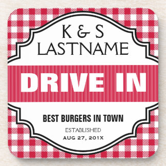Customized Old Fashioned Drive In Restaurant Sign Beverage Coaster
