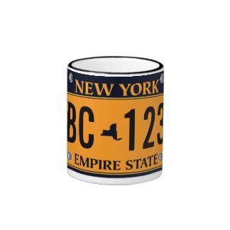 Customized Old New York Vehicle Licence Plate Ringer Coffee Mug