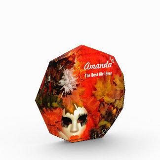 Customized Orange Carnival Costume Acrylic Award