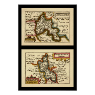 Customized Pairs of English County Maps Posters