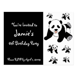 Customized Panda Bear Children's Party Invitations Postcard