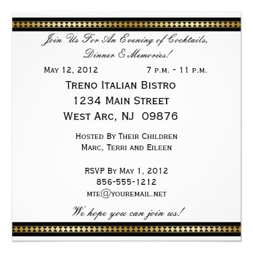 Customized Party Invitation All Occasions (back side)