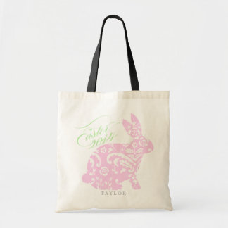 Customized Pastel Damask Easter Bunny Basket Tote Bags