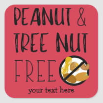 Customized Peanut and Tree Nut Free Red Stickers