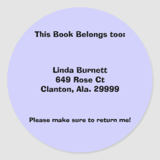 Customized Personalized Book Labels Classic Round Sticker