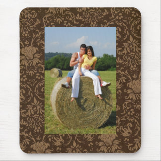 Customized Photo Brown Damask Pattern Mousepad
