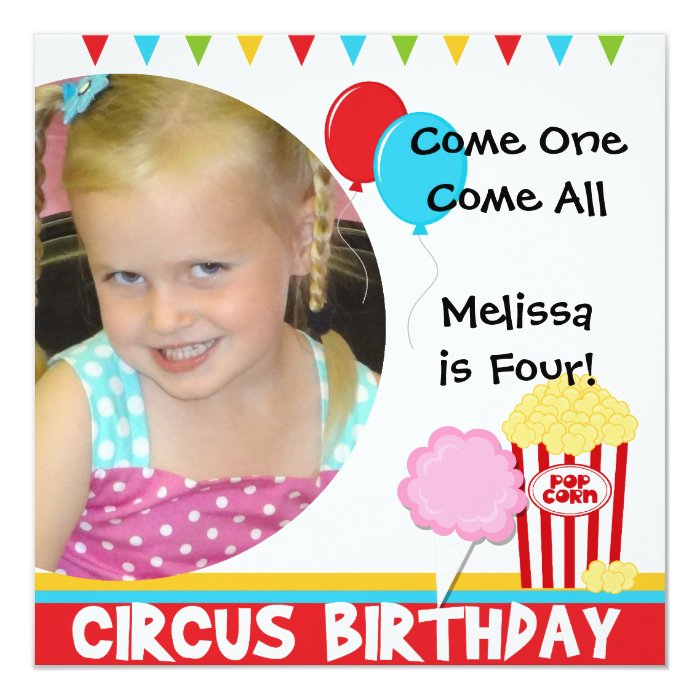 Customized Photo Circus Birthday Invitations
